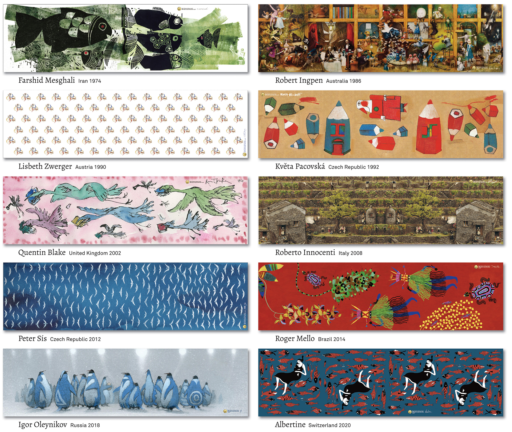 10 various scarf designs from illustrators