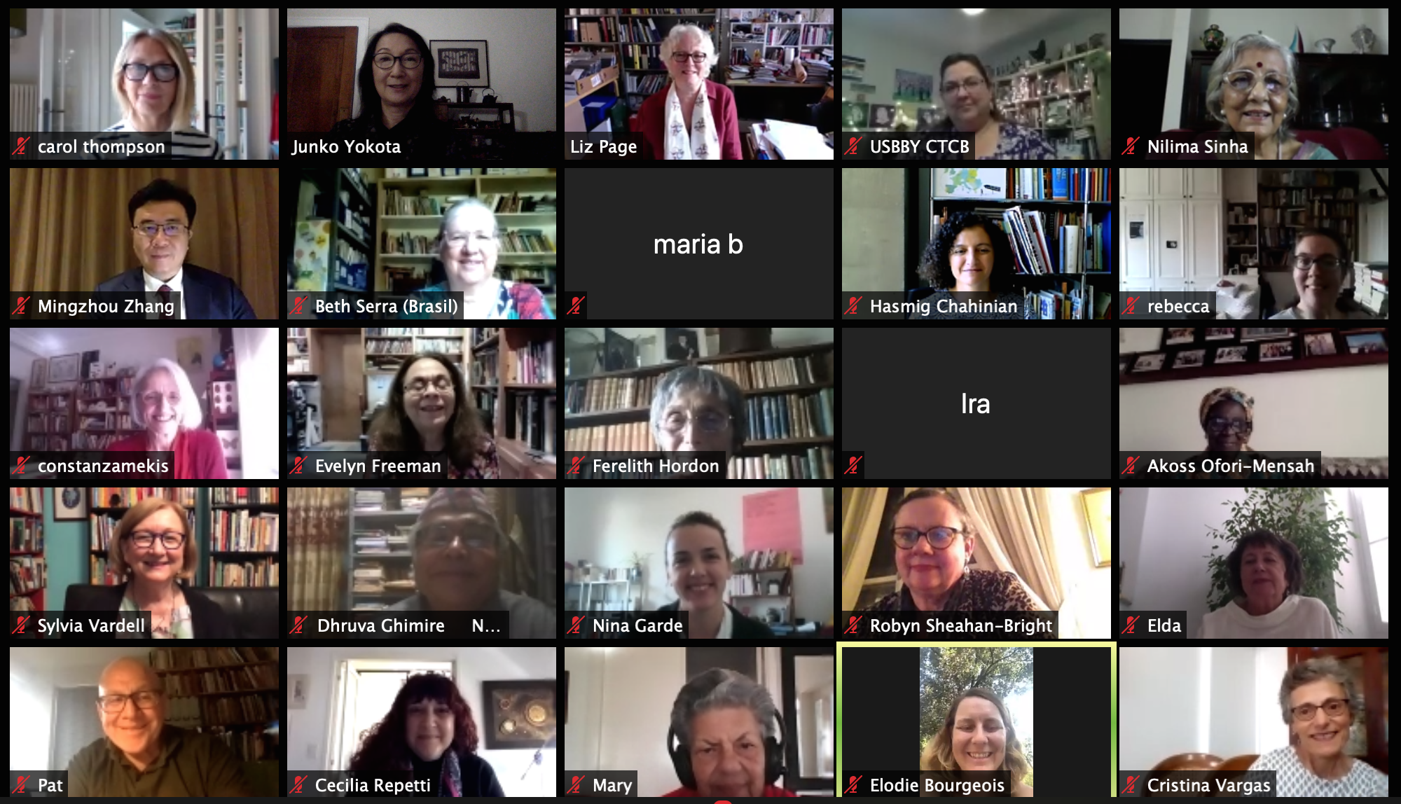 Zoom windows of IBBY members attending the virtual general assembly
